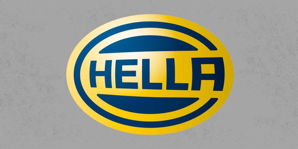 HELLA Logo auf grauem Hintergrund